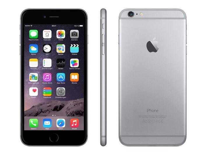 Apple iPhone 6,  4.7 Zoll, 1334x750, Retina, 1 GB RAM, 16 GB Speicher, Kamera 8,0 MP, Frontkamera 1,8 MP, iOS 8, Spacegrau, Alu, B-Ware, Ansicht von Vorne, von Seite und von hinten